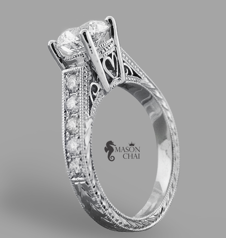 Elegant Custom Diamond Engagement Ring