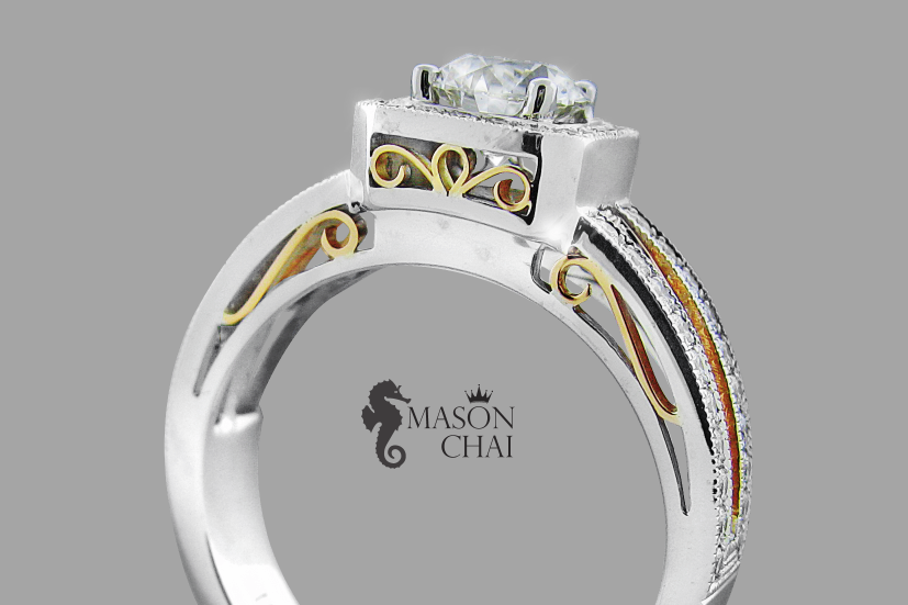 Custom Diamond Ring with Yellow and White Gold