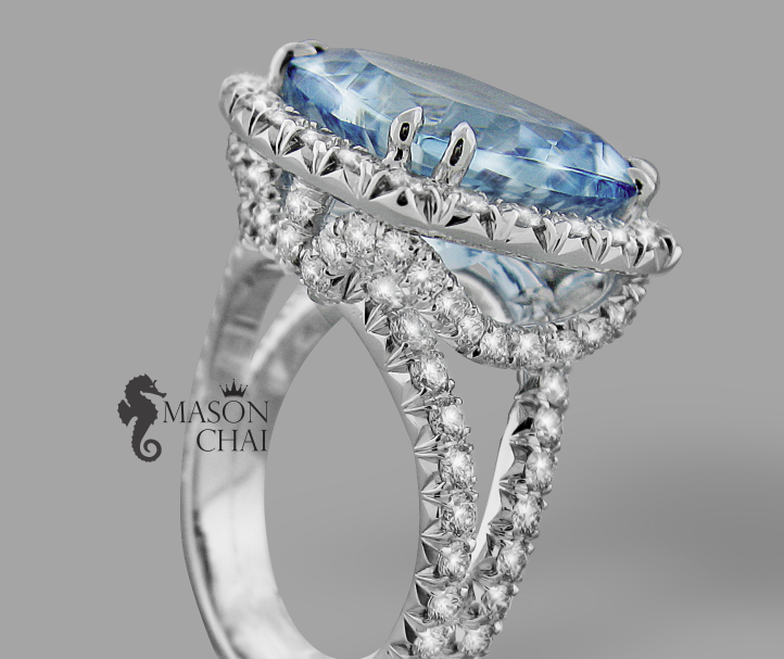 Custom Crafted Blue Aquamarine and Diamond Ring, view 1