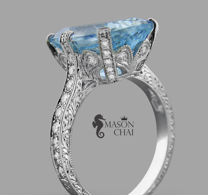 Custom Crafted Blue Aquamarine and Diamond Ring