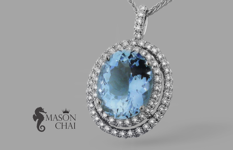 Custom Crafted Blue Aquamarine and Diamond Pendant