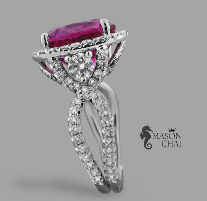 Stunning Pink Tourmaline and Heart Design Diamond Ring