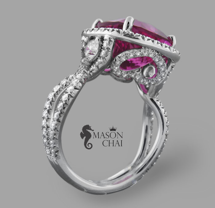 Unique 5.94 carat Pink Tourmaline and Heart Design Diamond Ring, view 2