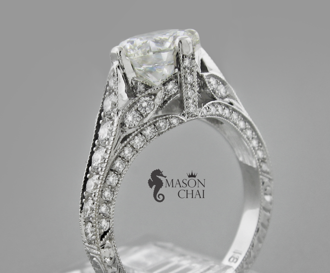Custom Crafted Diamond Engagement Ring, 552E
