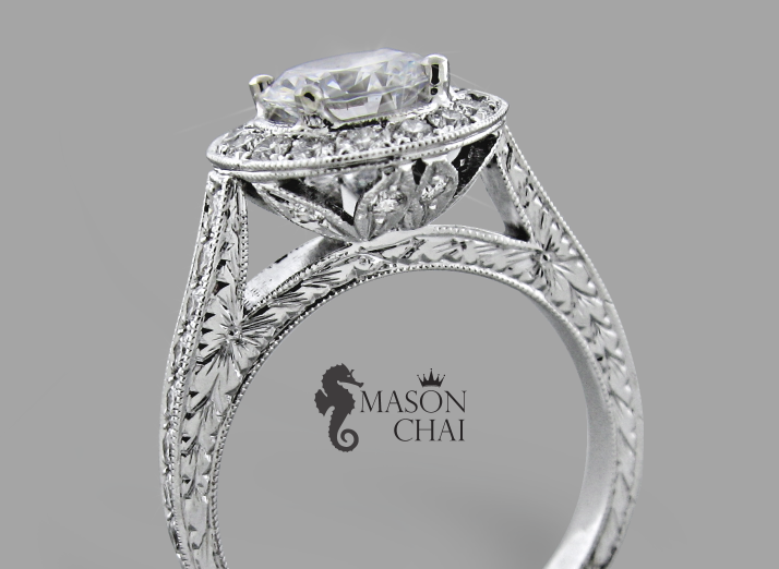 Unique Diamond Engagement Ring with detail carvings