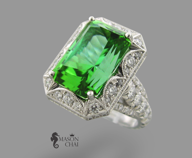 Stunning Square cut Emerald and Diamond Ring