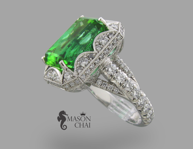 Mason Chai handcrafted custom emerald and diamond ring