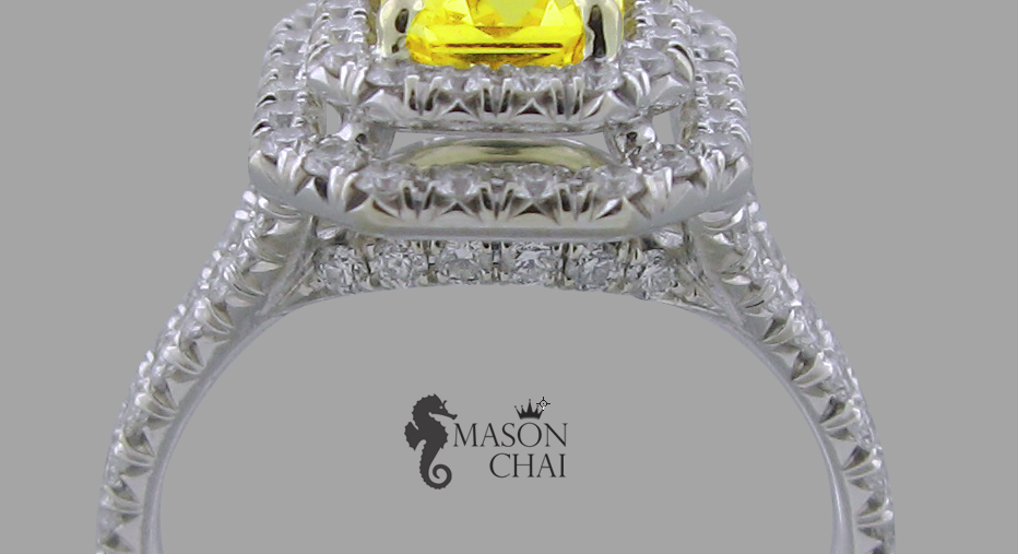 Square cut Yellow Diamond Ring, detail